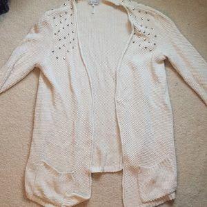 creme studded cardigan